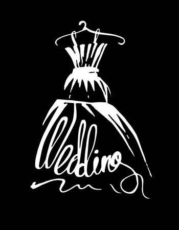 Wedding dress, vector illustration hand drawn. Sale dress.