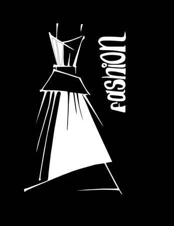 Woman dress, vector illustration hand drawn. Sale dress.