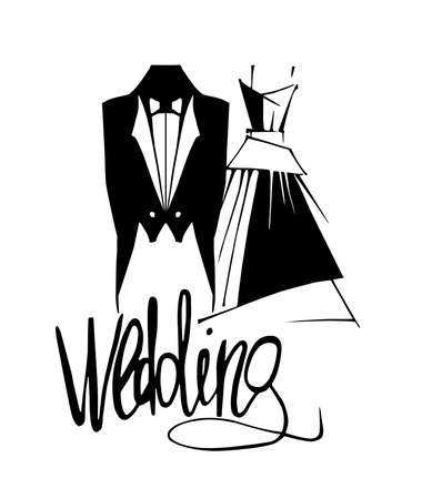 Wedding bride and groom costumes, vector illustration.