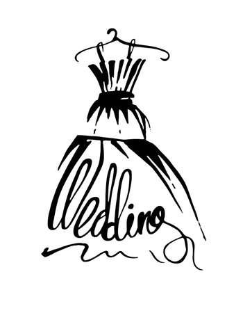 Hochzeitskleid. Vektor-Illustration.