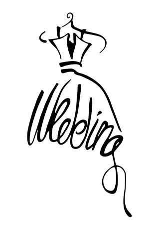 hot wife: Wedding dress, vector illustration.