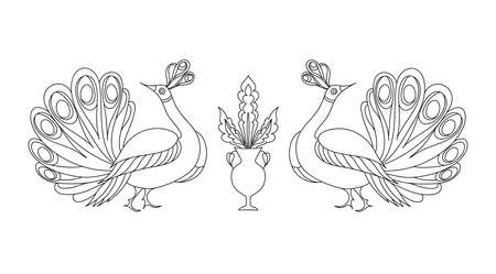 tshirt designs: Peacock ornamental hand drawn. Fantasy bird isolated. Black and white vector illustration. T-shirt designs. Embroidery pattern in oriental style. Illustration