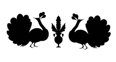tshirt designs: Peacock silhouette hand drawn. Fantasy bird isolated. Black and white vector illustration. T-shirt designs. Embroidery pattern in oriental style.