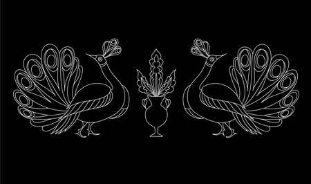 embellishment: Peacock ornamental hand drawn. Fantasy bird isolated. Black and white vector illustration. T-shirt designs. Embroidery pattern in oriental style. Illustration
