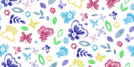 fabric swatch: Floral seamless background pattern with fantasy flowers. Line art. Vector colorful illustration hand drawn. Embroidery design - flowers, leaves, butterflies. Craft paper, fabric swatch. Illustration