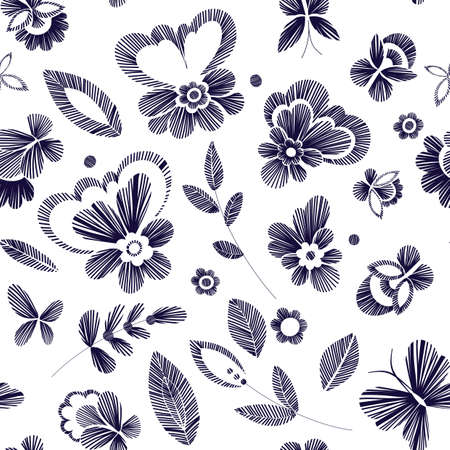 craft paper: Floral seamless background pattern with fantasy flowers. Line art. Vector illustration hand drawn. Embroidery design - flowers, leaves, butterflies. Craft paper, fabric swatch.