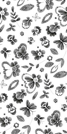 embroidery on fabric: Floral seamless background pattern with fantasy flowers. Line art. Vector illustration hand drawn. Embroidery design - flowers, leaves, butterflies. Craft paper, fabric swatch.