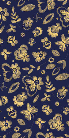 craft paper: Floral seamless background pattern with fantasy flowers. Line art. Vector colorful illustration hand drawn. Embroidery design - flowers, leaves, butterflies. Craft paper, fabric swatch. Illustration