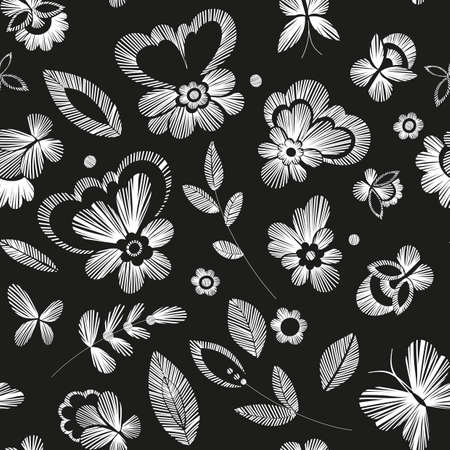 fabric swatch: Floral seamless background pattern with fantasy flowers. Line art. Vector illustration hand drawn. Embroidery design - flowers, leaves, butterflies. Craft paper, fabric swatch.