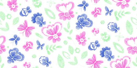 embroidery on fabric: Floral seamless background pattern with fantasy flowers. Line art. Vector colorful illustration hand drawn. Embroidery design - flowers, leaves, butterflies. Craft paper, fabric swatch. Illustration