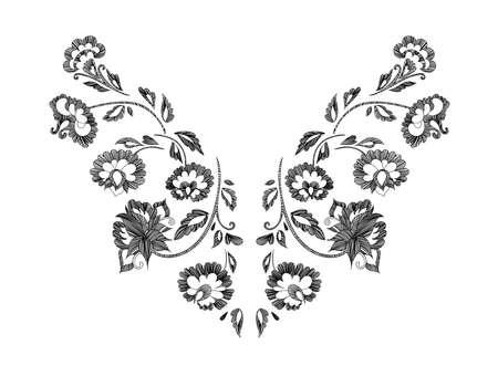 꽃 패턴, 목 라인 디자인. 벡터 일러스트 레이 션 손으로 그린. 판타지 꽃 자수 패턴입니다.