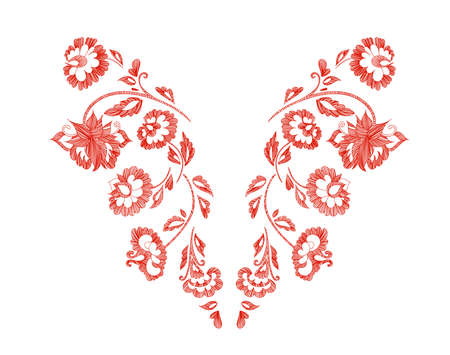 Floral pattern, neck line designs. Vector illustration hand drawn. Fantasy flowers embroidery pattern.