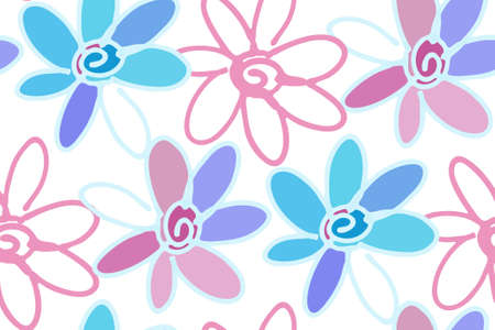 fabric swatch: Floral seamless background pattern with daisy flowers. illustration hand drawn. Wrapping paper, fabric swatch.