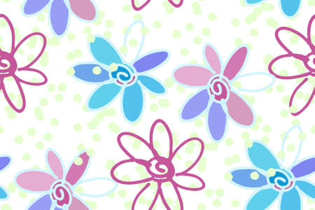 fabric swatch: Floral seamless background pattern with daisy flowers illustration hand drawn. Wrapping paper, fabric swatch. Illustration
