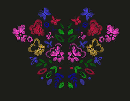 Floral design, embroidery pattern. Colorful vector illustration hand drawn. Fantasy flowers leaves and butterflies. T-shirt designs. Illustration