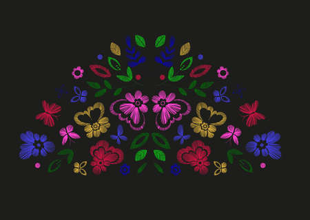 tshirt designs: Floral design, embroidery pattern. Colorful vector illustration hand drawn. Fantasy flowers leaves and butterflies. T-shirt designs. Illustration