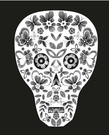 tshirt designs: Skull with fantasy flowers and butterflies. Monochrome vector illustration hand drawn. T-shirt designs. Illustration