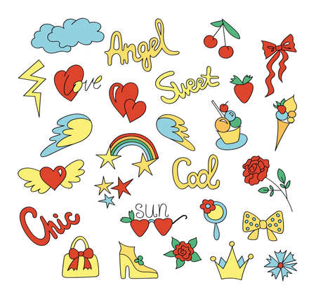footwear: Fashion patches. Cute stickers - rainbow, heart, shoe, rose, wings, clouds, stars, sweets, sherry, crown. Vector illustration hand drawn.