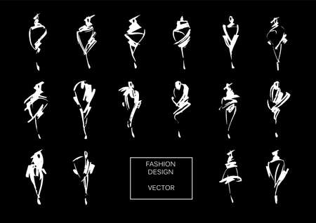 Los modelos de moda dibujan dibujados a mano. Conjunto de logotipos de moda. Ilustración vectorial aislados en blanco.