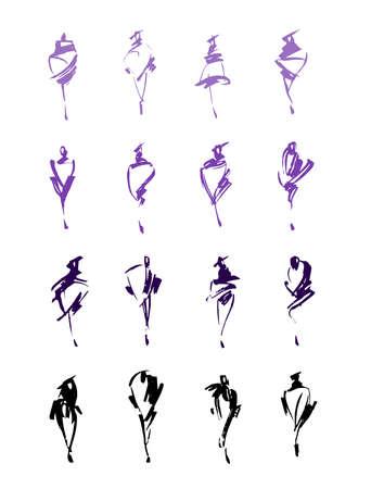 Set van mode hand getrokken. Vector illustratie. Kleurrijke schetsen geïsoleerd. Modieuze silhouetten.