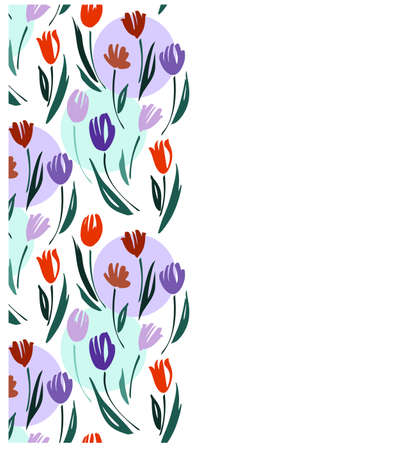 Floral seamless border with tulips. Blossom flowers, vector illustration hand drawn.