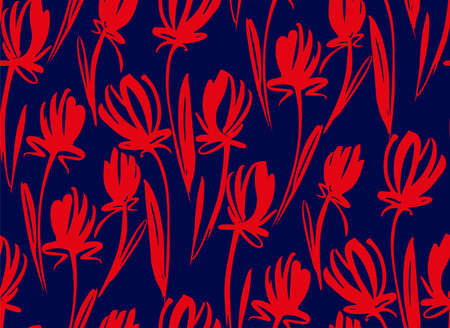 Floral seamless background pattern with tulips. Spring flowers blossom vector illustration hand drawn.