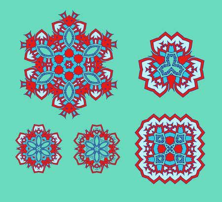 cretive: Set of  mandala logo design. Symmetrical kaleidoscope pattern. For invitation, wedding, banner, greeting card. Vector illustration.