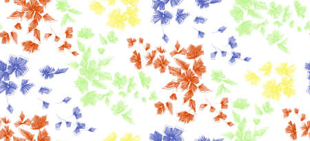 Floral seamless background pattern with fantasy flowers and leaves  Line art. Embroidery flowers. Vector illustration.