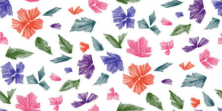 flower ornament: Floral seamless background pattern with fantasy flowers and leaves  Line art. Embroidery flowers. Vector illustration.