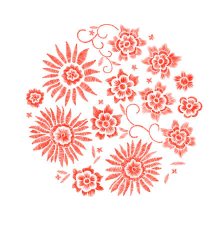 Set of floral pattern with fantasy flowers isolated. Line art. Vector illustration hand drawn. Embroidery design elements - flowers, leaves.