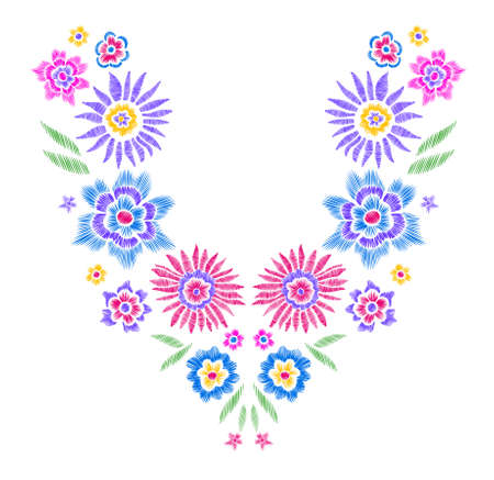embellishment: Floral pattern , neck line designs. Vector illustration hand drawn. Fantasy flowers embroidery pattern.