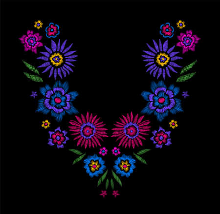 pattern: Floral pattern , neck line designs. Vector illustration hand drawn. Fantasy flowers embroidery pattern.