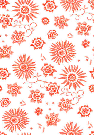 Floral seamless background pattern with fantasy flowers and leaves Line art. Embroidery flowers. Vector illustration. Illustration
