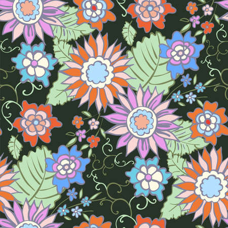 Floral seamless background pattern spring - summer season. Vector illustration for textile, wrapping paper, wallpaper, ?urtains.