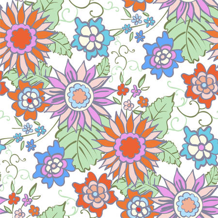 drapes: Floral seamless background pattern spring - summer season. Vector illustration for textile, wrapping paper, wallpaper, ?urtains.