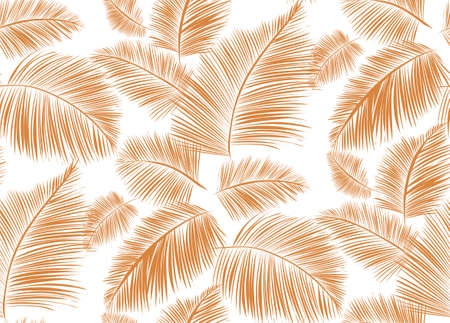 Seamless background pattern with palm leaves. Tropical plants silhouettes , vector illustration. Illustration