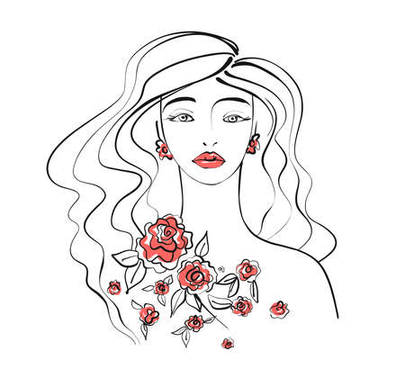 Beautiful women face with long wavy hair on white background, vector illustration hand drawn
