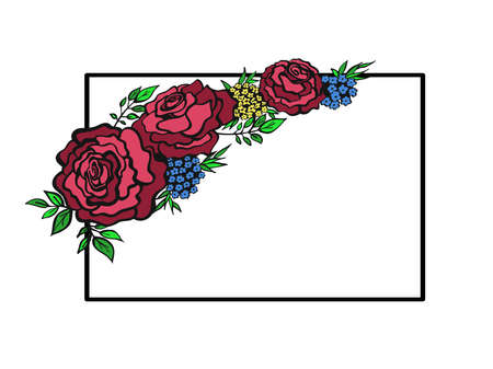 Bouquet of roses isolated on white . Floral design pattern. Vector illustration hand drawn.