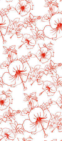 Floral seamless background pattern spring - summer season. Hibiscus flowers hand drawn.Vector illustration for textile, wrapping paper, wallpaper, ?urtains . Illustration