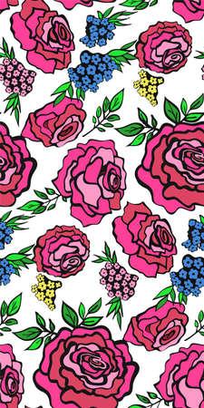 Motif floral sans fond avec roses, printemps - saison estivale. Illustration vectorielle pour le textile, le papier d'emballage, le papier peint, les urines.