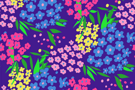 blue green background: Floral seamless background pattern with small flowers , spring - summer season. Vector illustration for textile, wrapping paper, wallpaper, curtains. Illustration