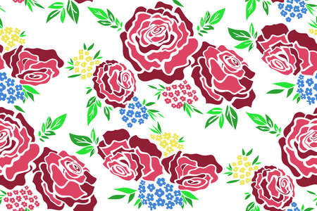 Floral seamless background pattern with roses, spring - summer season. Vector illustration for textile, wrapping paper, wallpaper, ?urtains.