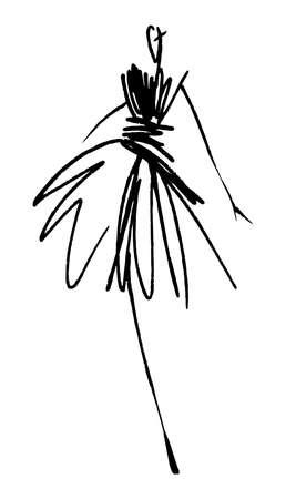 ファッションの女の子のスケッチの手描き、様式化されたシルエットが分離されました。ベクトルのファッションのイラスト。  イラスト・ベクター素材