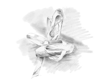 Disegni a matita lo schizzo della scarpa di balletto, illustrazione disegnata a mano di vettore.
