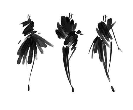 Modelli di moda schizzo disegnato a mano, sagome stilizzate isolata.Vector illustrazione di moda. Archivio Fotografico - 87213919