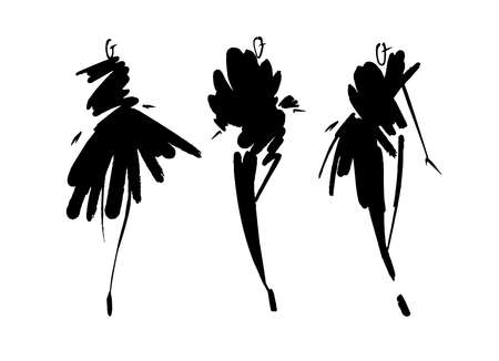 Fashion models sketch hand drawn , stylized silhouettes isolated.Vector fashion illustration set. Ilustrace