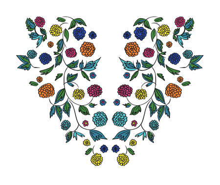Floral design , embroidery pattern. Colorful vector illustration hand drawn. Fantasy flowers leaves. T-shirt designs. Illustration