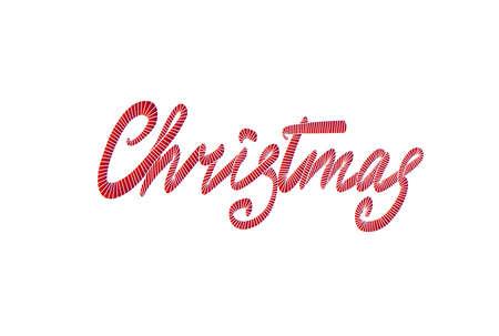 Merry Christmas belettering hand getrokken. Kerst wenskaart. Borduurpatroon. Vector illustratie.