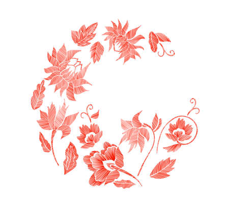 Set of floral pattern with fantasy flowers isolated