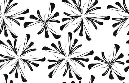 Seamless background flower pattern in retro style. Black and white vector illustration. Illustration